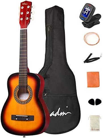 ADM Beginner Acoustic Classical Guitar 30 Inch Steel Strings Wooden Guitar Bundle Kit with Carrying product image