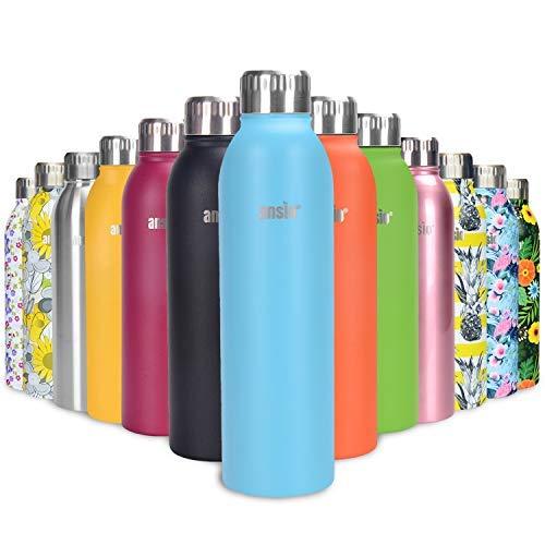 ANSIO Botella de Agua, Frasco de vacío y Botella de Agua de Acero Inoxidable Botella de Bebidas con Aislamiento Doble Pared Botella de Agua Caliente y fría sin BPA al Aire Libre - 750ML -Agua