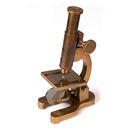 Windlass Historical Victorian Era Replica Vintage Brass Microscope Working Functional Prop - 16x Magnification