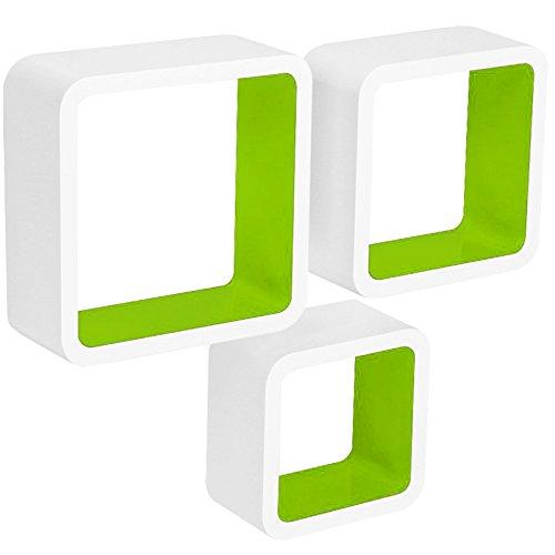 WOLTU RG9236gn Wandregal Cube CD Regal 3er Set Hängeregal Würfel, weiß-grün