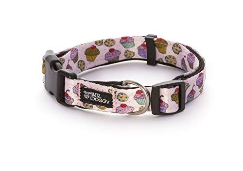 Collar Perro Nylon - Ajustable Tamaños - para Perros Pequeño, Mediano y Grande - Collares Accesorios Mascotas (S - 1,5 x 28-40 cm, Cupcakes)