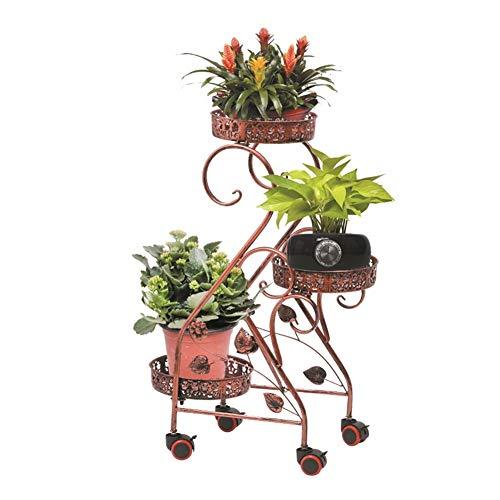 YQQ Soporte de la Planta Puesto De Flores con Rueda Puesto De Flores Soporte De La Planta Soporte De Exhibición del Balcón Labrado Plancha Multicapa Empujar Tirar