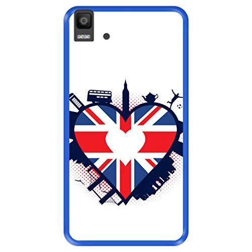 Funda Azul para [ Bq Aquaris E5s - E5 4G ] diseño [ Bandera en Forma de corazón del Reino Unido ] Carcasa Silicona Flexible TPU
