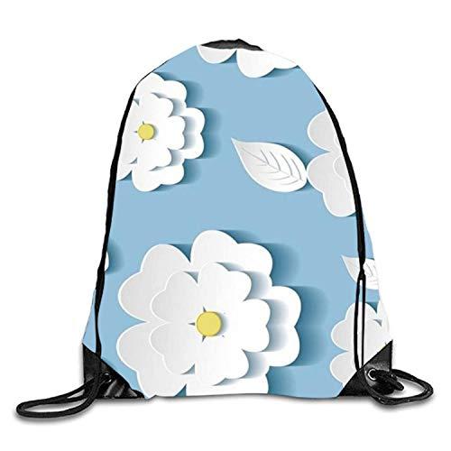 uykjuykj Sac à Dos à Motif Floral Blanc avec Cordon de Serrage, étanche, Sac à Dos pour Homme et Femme, Sac à Dos léger Unique 43 x 35 cm