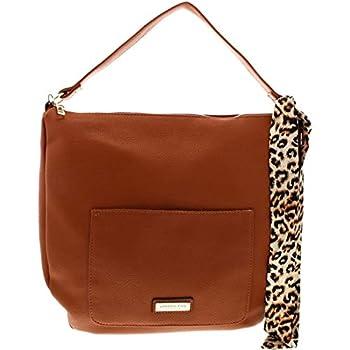 London Fog Lizzt Women s Pebbled Faux Leather Satchel Handbag Brown Size Large