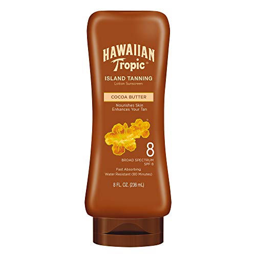 Hawaiian Tropic Island Tanning Reef Friendly Lotion Sunscreen with Cocoa Butter, SPF 8, 8 Ounces