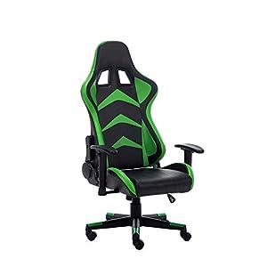 RAC TLV-A1010-GREEN Silla Gaming PC Videojuegos Racing Oficina Escritorio Sillon Gamer Despacho, Negro - Verde