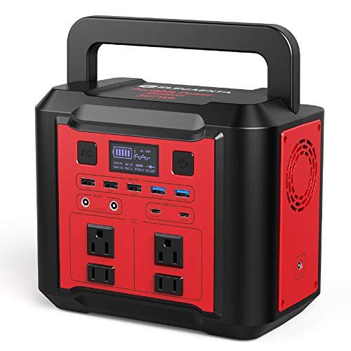 ELECAENTA ポータブル電源 大容量 83200mAh/307Wh 蓄電池 正弦波 AC 300W/DC/USB-QC3.0/Type-C PD急速充電対応 13つ出力ポート ソーラーパネルMPPT充電制御 ポータブルバッテリー キャンプ 家庭用 ア