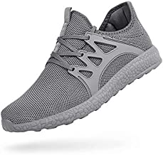 QANSI Men's Non Slip Sneakers Comfortable Work Shoes Ultra Lightweight Breathable Gym Tennis Running Walking Athletic Sneakers Grey 10.5