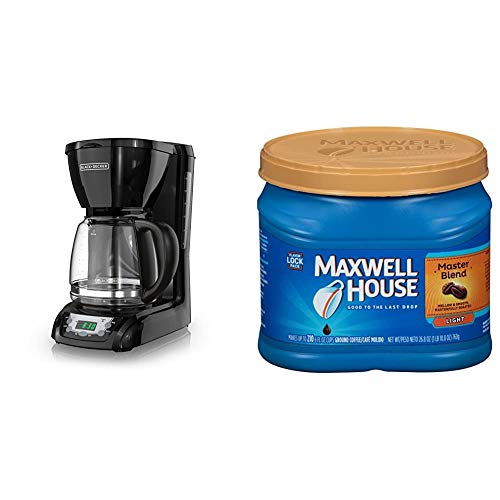 BLACK+DECKER DLX1050B 12-cup Programmable Coffee Maker with glass carafe, Black & Maxwell House Master Blend Light Roast Ground Coffee (26.8 oz Canister)