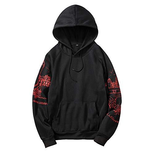 Sweatshirt à Capuche Léger pour Homme Pull Imprimé Ample à Manches Longues Sweat Casual de Sport avec Cordon Contrasté et Poche Kangourou Streetwear Oversize Noir S