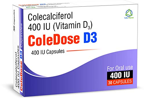Vitamin D 400 IU –Equivalent to 10 mcg - ColeDose D3, Premium Vitamin - 30 Capsules- One a Day