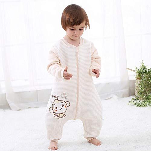 Deken katoenen slaapzak, kinderslaapzak met gespleten pijpen, dunne katoenen anti-kick-quilt - baby-aap kameel warme luchtlaag_100cm, voor baby's van 0-12 maanden