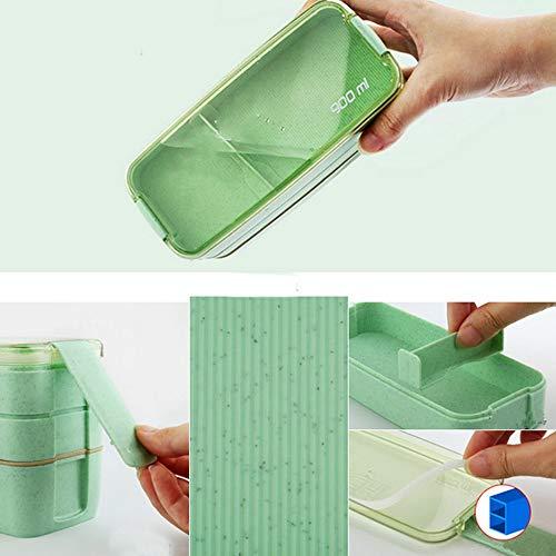 kgfjhd Brotdose 3 Schicht Kunststoff Lunchboxen Behälter für Lebensmittel Mikrowelle Bento Box Für Studenten Tragbare Frischhaltedose Picknickdosen, Grün
