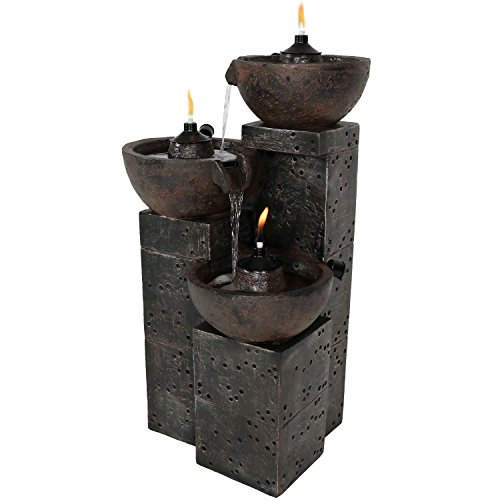 Sunnydaze Burning Bowls Outdoor Water Fountain - 3-Tier Waterfall Fountain & Backyard Water Feature for Patio, Yard, Garden - 34-Inch Tall