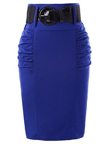 Belle Poque Elastic Pencil Skirts Women Blue Knee Length Office Skirts S KK271-4