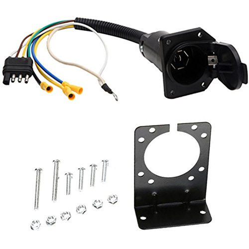 NEW SUN 4 Flat to 7 Way Blade Trailer Adapter Electrical Connector with Mounting Bracket