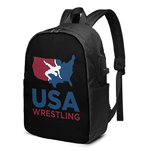 USA Wrestling Busin Laptop School Bookbag Travel Bapack with USB Charging Port & Headphone Port Fit 17 in