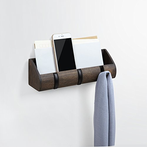 Umbra Cubby Mini Organizer – with Hooks and Compartment, Great for Holding Keys, Phone, Chargers, Mail, and Oher Goods, Compact Storage, Black/Walnut