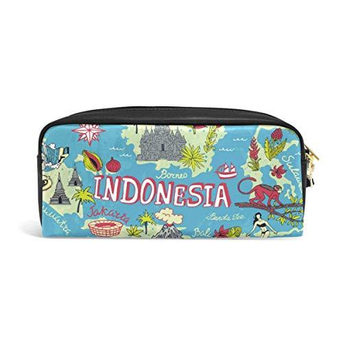Kaart van Indonesië Potlood Pounch Case Pen Bag Rits Jongen Meisje Teen Vrouwen College School Schrijven Supply