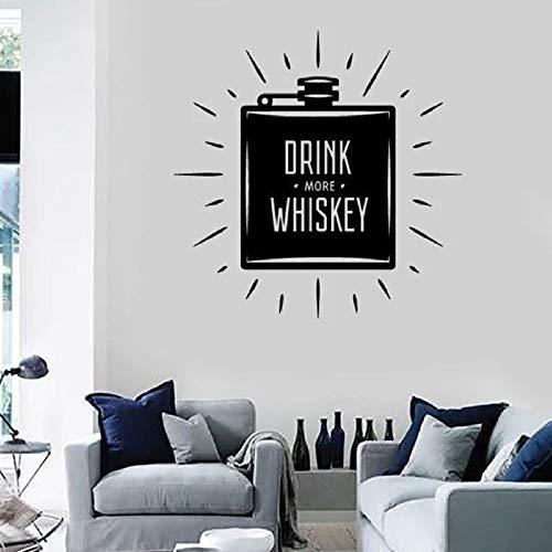 JXWH Muursticker voor drankje Plus whisky flessenetiketten Home Decor woonkamer Art Bar Vinyl venster zelfklevend muurbelettering 57 x 57 cm