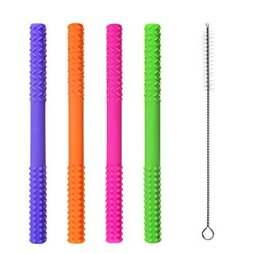 Baby Kauen Spielzeug, Weiches Silikon Beißring für Baby, Vierfarbiges Baby Zahnen Spielzeug mit Reinigungsbürste, Hohle Beißröhren für Sensorische Erkundung und Zahnentlastung