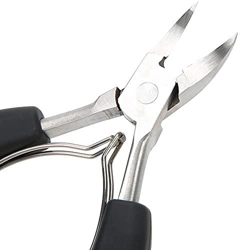 Alicates para uñas con pinza para cutículas, herramienta de manicura para recortador de cutículas, tijeras para cutículas, para uñas de los pies encarnadas gruesas(negro)
