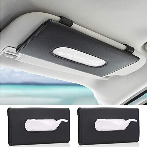 2 Pack Car Tissue Holder with Tissues, Sun Visor Napkin Holder for Car, Hanging Paper Towel Clip Napkin Box for Backseat, PU Leather Car Tissues Storage Case, Car Accessories for Women (Black)