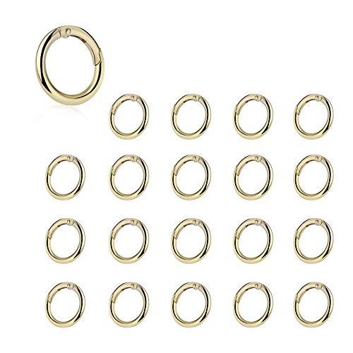 Zasiene Moschettone Borsa 20 Pezzi Anelli per Borse Moschettone Rotondo Moschettoni per Borse Portachiavi a Molla Anelli Artigianato Accessori(Gold)