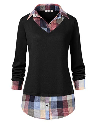 Women's Plaid Layered T-Shirt, DJT Curved Hem Buttons Pullover Tops 3/4 Sleeve Sweatshirt T-Shirt Top XL Black