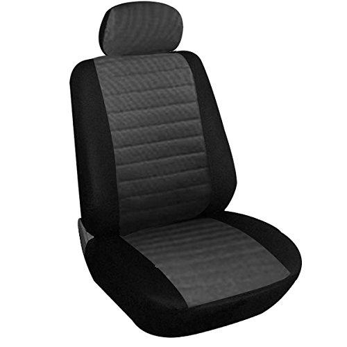 WOLTU 7231 Sitzbezug für Auto Einzelsitzbezug Vordere Schonbezug Autoauflage Schoner, 1er Set, Schwarz/Grau