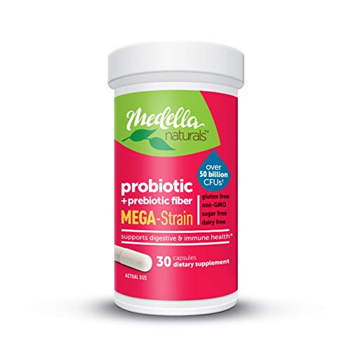 Medella Naturals Mega-Strain Probiotics + Prebiotic for Adults, 50 Billion CFUs to Support Digestive and Immune Health, Made in The USA, 30 Capsules
