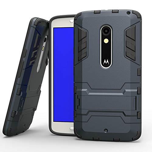 COOVY® Cover für Motorola Moto X Play Bumper Case, Doppelschicht aus Plastik + TPU-Silikon, extra stark, Anti-Shock, Standfunktion | Farbe Navyblau