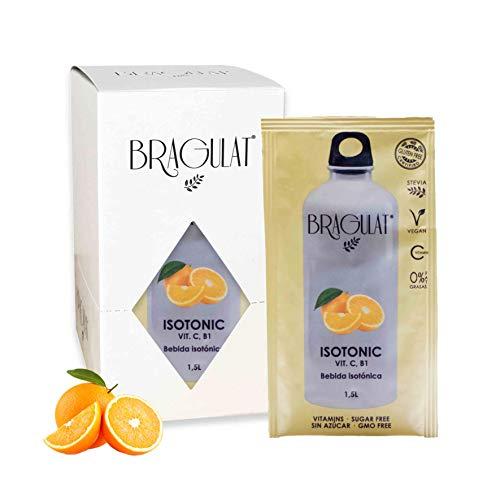 BRAGULAT   Bebidas y Refrescos ISOTONIC en Polvo  Zumo Concentrado de Frutas   Sin Azúcar y con Vitamina C y B1   Agua con Sabor a Naranja   15 Sobres