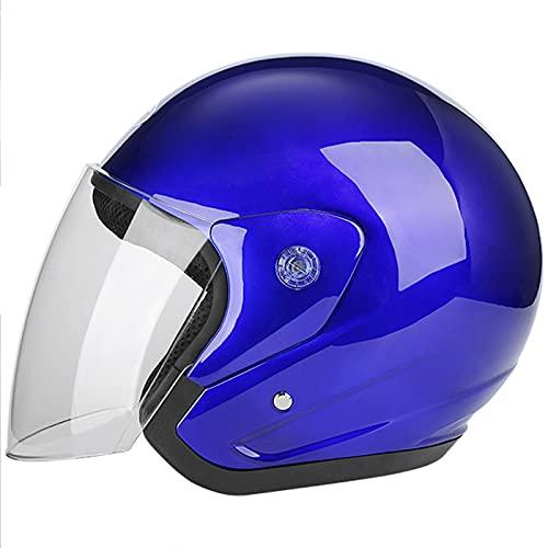 Motorrad Halbhelm Vintage Roller Helm Damen Herren Retro Open Face Motorradhelme DOT/ECE Zertifiziert Leicht Atmungsaktiv Straßensonnenschutz Moped Crash Helm (55-60cm),Blau