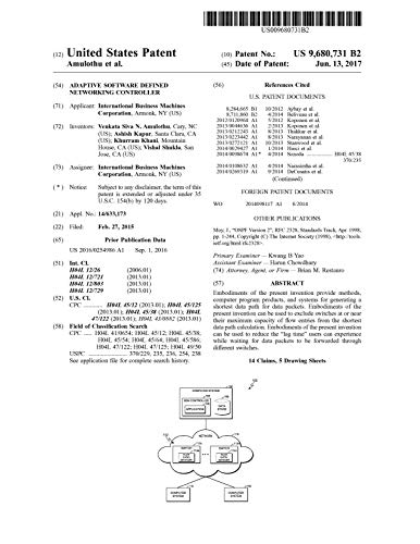 Adaptive software defined networking controller: United States Patent 9680731 (English Edition)