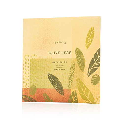 Thymes - Olive Leaf Bath Salts - Soothing Combination of Epsom and Sea Salt for Relaxing Bath Soak - 2 oz