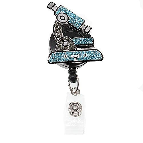 Rhinestone Microscope Shape ID Badge Holder Use for Doctor/Staff