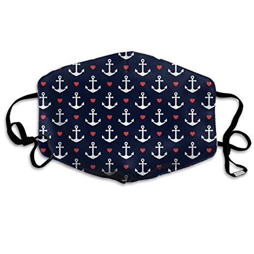 Seamless Anchors Hearts Nautical Theme Designer Mundabdeckung Earloop Gesichtsabdeckung Staubschutzhüllen Design Staubschutzhülle