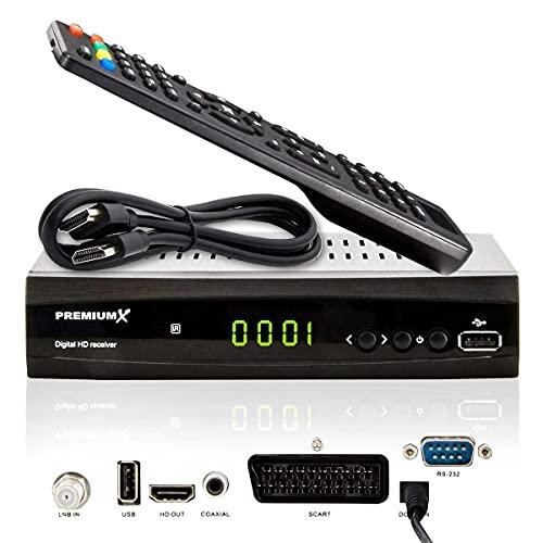 PremiumX Satelliten-Receiver HD 521 FTA Digital SAT TV-Receiver DVB-S2 FullHD HDMI SCART 2X USB Multimedia-Player, 12V Externe Netzteil