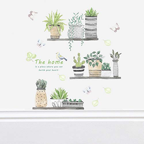 Poominer Green Potted Plants Wall Stickers,Tropical Leaves Wall Decals, Bonsai Flower Butterfly Cactus Wallpaper, DIY Art Mural Cactus Decorations for Living Room Bedroom Kitchen Offices Nursery Home