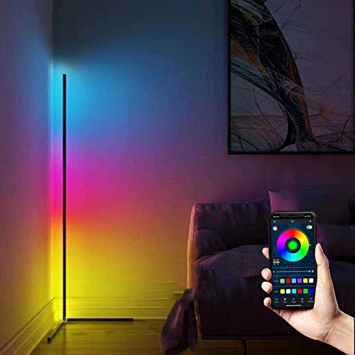 SXHYL Lámpara de pie RGB 145 cm, Regulable con, Control de aplicación, lámpara de pie Moderna con Cambio de Color, decoración para Sala de Juegos, salón, Dormitorio, Base en ángulo Recto