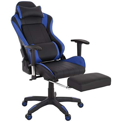 Raburg Gaming-Stuhl DRIFT HAWK – XXL Bürostuhl mit Relax-Fußstütze aus Soft-Touch Kunstleder in SCHWARZ/BLAU, ergonomisch geformt + 180° Easy-Chill-Funktion, 360° drehbar - Tragkraft 150 kg