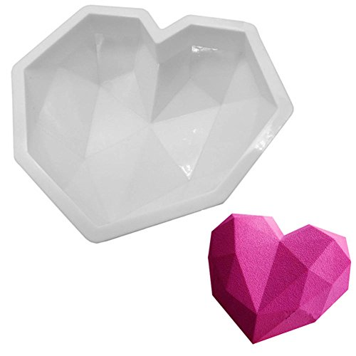 Diamond Heart Mousse Cake Mold Trays, 7.8-inch Silicone Baking Pan-Food Grade & BPA Free-Not Sticky Mould Suitable For Mousse,Chocolate Brownie,Jelly,Ice Cream,Chiffon,Cheesecake,Fondant
