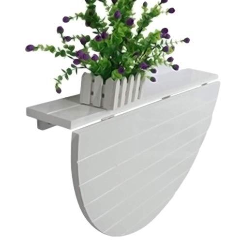 XLAHD Hängende Tische, Holzbalkontisch Balkon Halbkreisförmiger Gartentisch Klappbarer Klapptisch Klappbarer Wandtisch Weißer Pflanzenständer Picknicktisch