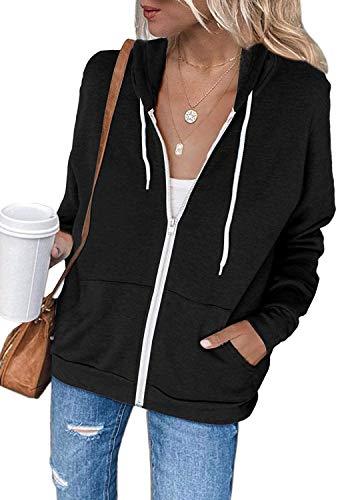 Uusollecy Damen Sweatjacke Hoodie Sweatshirtjacke Pullover Oberteile Kapuzenpullover Einfarbig Full Zip Casual Hoodie Sweatshirt A-schwarz M