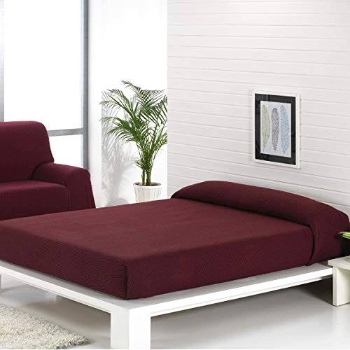 Confort-Home - Copriletto mod. Foulard, multiuso, adatto per divano a 2/3posti e letto da 90, 135/150 cm, color platino,realizzato in Spagna 125_x_180_cm bordeaux
