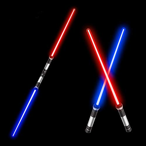 """Beyondtrade Laser Sword'S for Kids, Double Bladed Light Saber Toy with Sounds (Motion Sensitive) – 4 Colors - 26"""""""" – Perfect for Party – Xmas Presents (2 Pack)"""