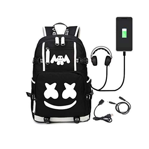 WYCYルミナスバックパックブラックスクールバッグ36Lカバン(USB充電ポート付き)男女兼用オーディオラインユニセックス学生ブックバッグリュックサック (マシュメロデビル)