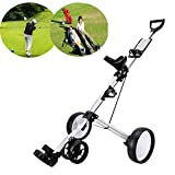 Golf Push Cart 4 Wheel Collapsible Golf Trolley, Golf Push/Pull Cart, Golf Trolley